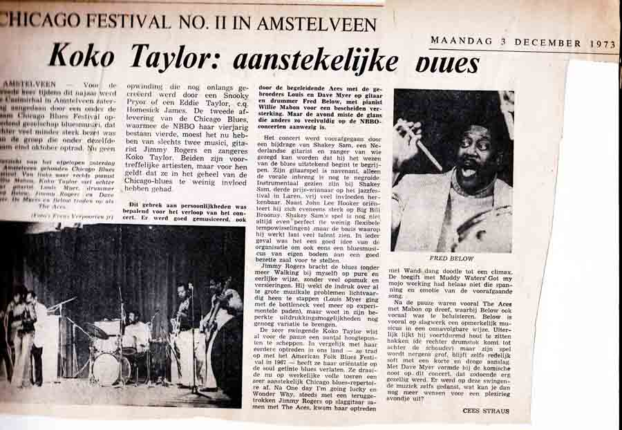 Haarlems Dagblad Blues Legends 1973 Amstelveen